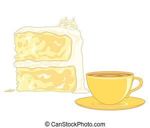 a vector illustration in eps 10 format of a butter sponge cake and a cup of tea on a white background
