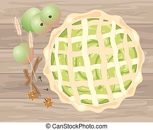 apple pie - a vector illustration in eps 10 format of a...
