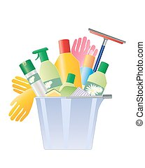 cleaning bucket - a vector illustration in eps 10 format of ...