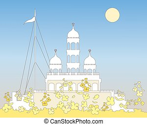 white gurdwara - a vector illustration in eps 10 format of a...