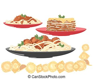 a vector illustration in eps 10 format of three pasta dishes including spaghetti bolognese meatballs lasagne and ravioli on a white background