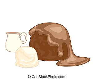 sticky toffee pudding - a vector illustration in eps 8...