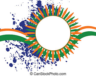 A vector illustration of a colorful template frame with copy space on grunge background  for Independence Day and Republic Day.