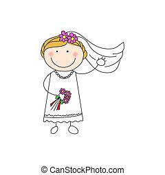 doodle bride - a vector illustration of a doodle bride...