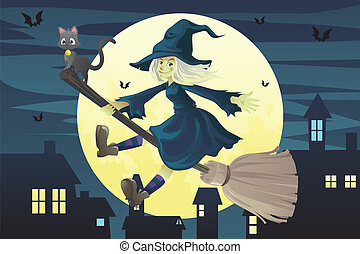 Halloween flying witch - A vector illustration of a...