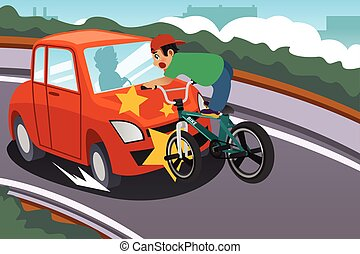 Kid Riding a Bicycle in an Accident with a Car