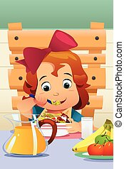 Little Girl Eating Salad Vegetables