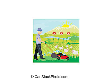 A vector illustration of a man mowing the lawn