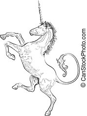 unicorn - A vector illustration of a rampant (standing on ...