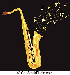 saxophone - a vector illustration of a saxophone in details ...