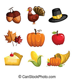 A vector illustration of a set of Thanksgiving icons