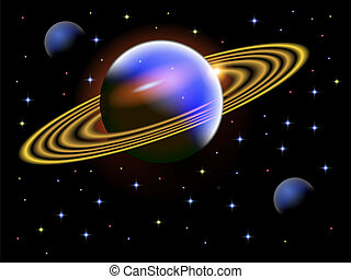 A vector illustration of a space scene