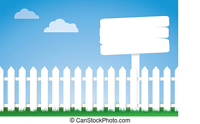 white picket fence with a sign - a vector illustration of a...