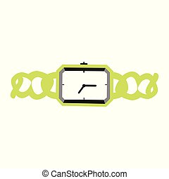 A vector illustration of a wrist watch with a fancy green band