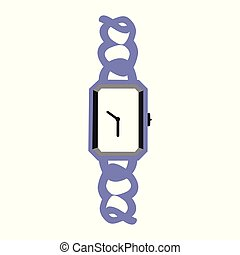 A vector illustration of a wrist watch with a fancy purple band
