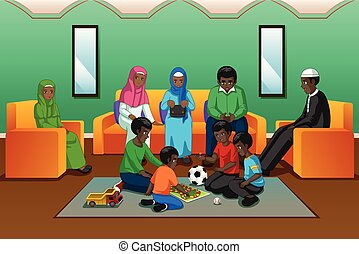 African Muslim Family Playing in the Living Room