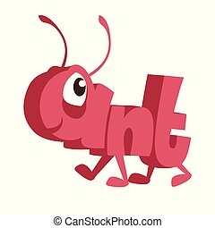 Ant Cartoon Animal in Letters