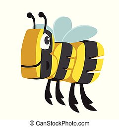 Bee Cartoon Animal in Letters