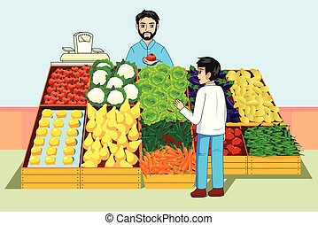 Boy Buying Vegetables and Fruits at Farmers Market
