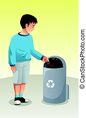 Boy Recycling Trash in Trash Can