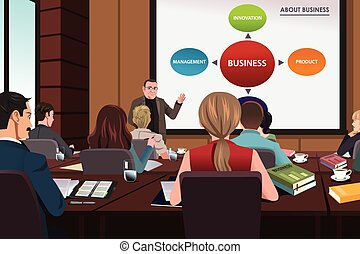 Business people in a seminar - A vector illustration of...