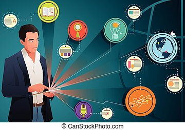 Businessman Looking at Internet Technology
