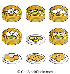Chinese dim sum icons - A vector illustration of Chinese dim...