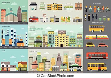 City Life and Transportation Infographic Elements - A vector...
