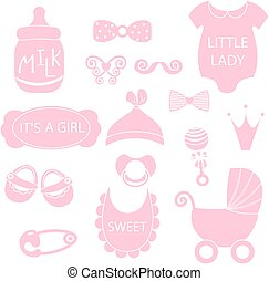 A vector illustration of cute baby girl icons like nappy...