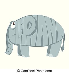Elephant Cartoon Animal in Letters