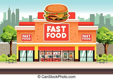 Fast Food Restaurant - A vector illustration of Fast Food ...