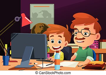 Father and Son Working on a Computer - A vector illustration...
