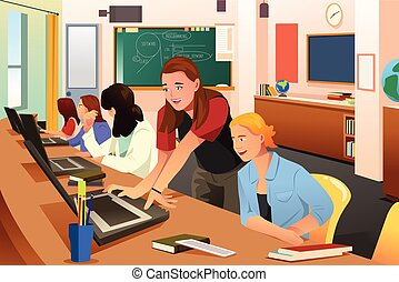 Female Teacher in Computer Class with Students