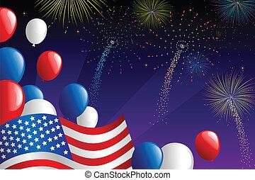 A vector illustration of Fourth of July fireworks celebration