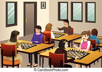 Girls Playing Chess in a Chess Club