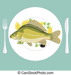 A vector illustration of grill prepared fish with lemon and parsley