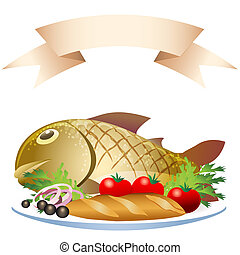 A vector illustration of grill prepared fish with loaf and vegetables