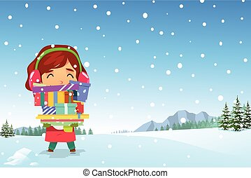 Happy Girl Carrying Christmas Presents in the Snow