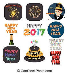 Happy New Year Signs and Icons