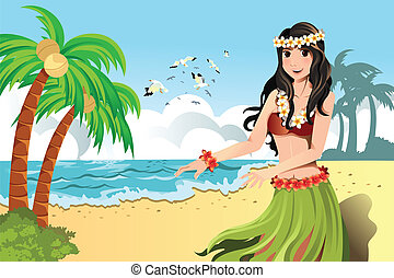 A vector illustration of Hawaiian hula dancer girl
