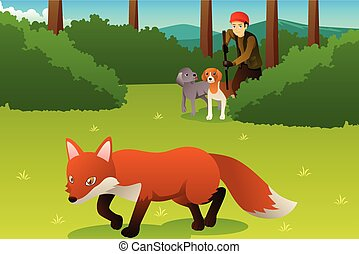 Hunter With His Dogs Hunting a Fox
