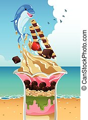 Ice Cream Sundae Summer Poster - A vector illustration of...