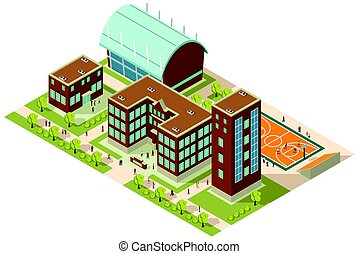 Isometric College Campus - A vector illustration of ...