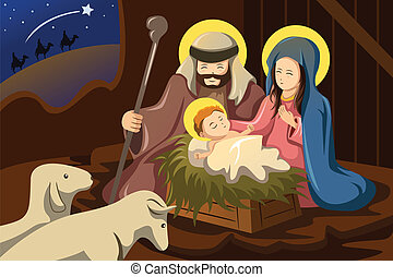 A vector illustration of Joseph, Mary and baby Jesus for nativity concept
