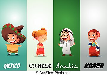 Kids Dressed in Traditional Clothing - A vector illustration...