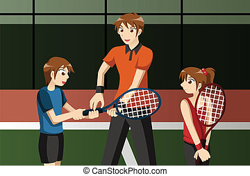 Kids in a tennis club with the instructor - A vector ...