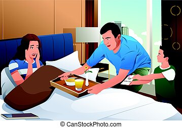Mother Getting Breakfast in Bed Surprise on Mothers Day