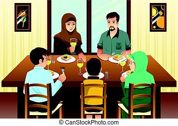 Muslim Family Eating Dinner at Home