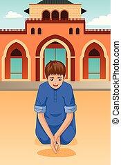 Muslim Kid Praying in Mosque