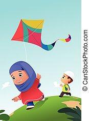 Muslim Kids Playing Kite Outdoor